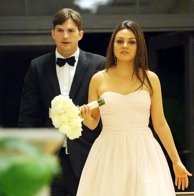 EXCLUSIVE: **STRICTLY NO WEB UNTIL 3PM PST MONDAY 9TH DECEMBER 2013** Mila Kunis and Ashton Kutcher attend Mila's brother Michael Kunis wedding with Alexandra Blacker in St. Petersburg Fl