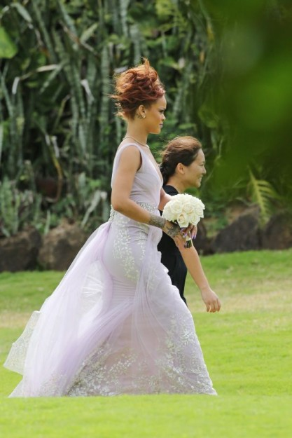 Rihanna looks breathtaking at her assistant's wedding in Honolulu, HI
