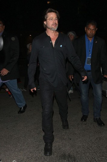EXCLUSIVE: Brad Pitt Goes to The Pantages Theatre With a Bruised Face