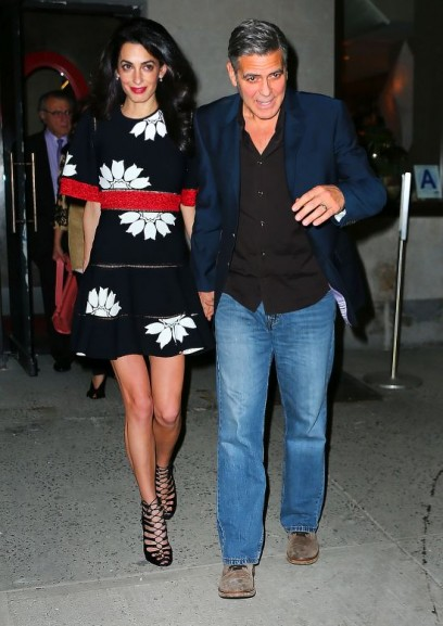 Amal Clooney and George Clooney go to dinner with Amal's parents Ramzi and Baria Alamuddin and her sister Tala at Caravaggio in NYC