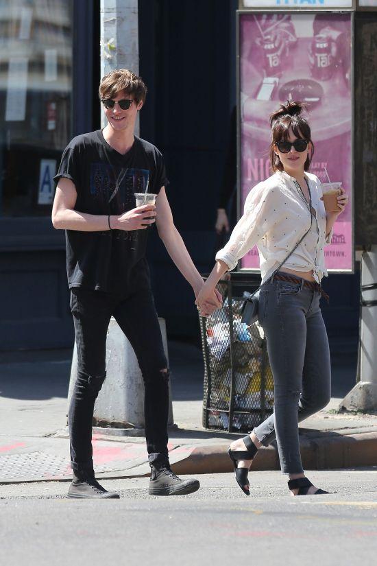 Dakota Johnson and Matthew Hitt hold hands after lunch at Cafe Cluny