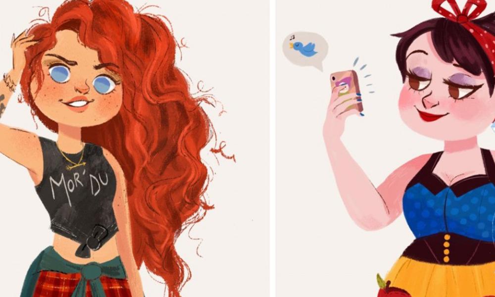Ζωγραφίζει τις πριγκίπισσες της Ντίσνεϋ σαν μοντέρνα κορίτσια του 21ου αιώνα.