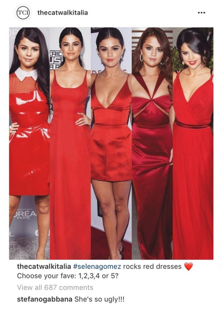 Stefano Gabbana αποκάλεσε την Selena Gomez άσχημη