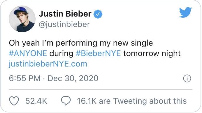 O Justin Bieber θα παρουσιάσει ολοκαίνουριο single στην New Year's Eve διαδικτυακή συναυλία του!
